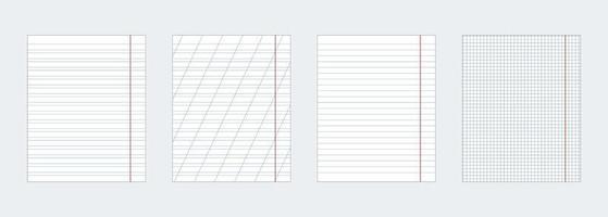 un ensemble de quatre feuilles de cahier de différents types. vecteur eps10.