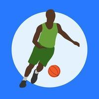 basketteur dans le style cartoom. homme en cours d'exécution avec une boule orange. illustration de sport. vecteur isolé.