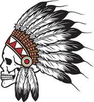 illustration vectorielle de crâne de chef indien amérindien vecteur