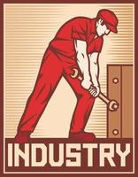 travailleur tenant illustration vectorielle de clé industrie affiche vecteur