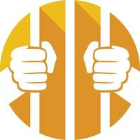 mains tenant les barreaux de la prison vecteur