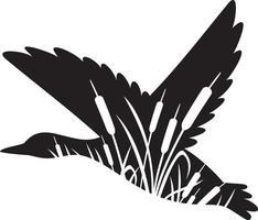 Canard colvert volant et roseaux vecteur