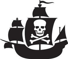 bateau pirate avec crâne vecteur