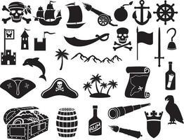 jeu d & # 39; icônes de pirates vecteur