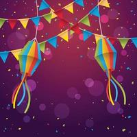 fond de festival festa junina avec des confettis vecteur