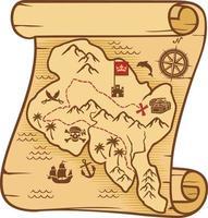 carte pirate avec trésor vecteur