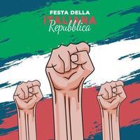 affiche de la fête de la république italienne avec les poings levés vecteur