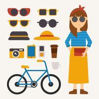 Femme avec un vecteur de style hipster