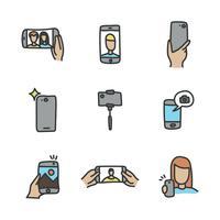 Icônes de Selfie Doodled vecteur