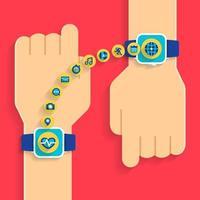 données de transfert de smartwatch à la main vecteur