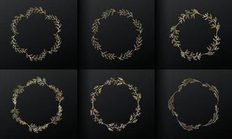 cadre de fleur de cercle doré pour la création de logo monogramme. vecteur