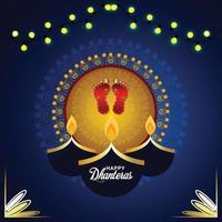 Carte de voeux de célébration de shubh dhanteras avec l'empreinte de laxami de déesse vecteur