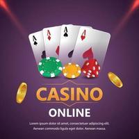 jeu de casino avec texte doré et cartes à jouer et machine à sous de casino vecteur