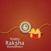 joyeux raksha bandhan carte de voeux avec cristal rakhi et cadeaux vecteur