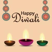 concept de design plat heureux diwali avec diwali diya créatif vecteur