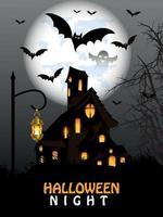 fond de fête d'halloween avec maison hantée avec arbre fantasmagorique et chauves-souris avec pleine lune vecteur