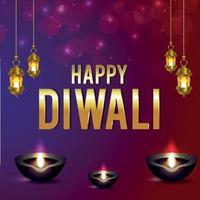 carte de voeux de célébration du festival indien de diwali avec lampe suspendue et diya vecteur