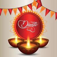 joyeux festival diwali de carte de voeux légère avec illustration créative et arrière-plan vecteur