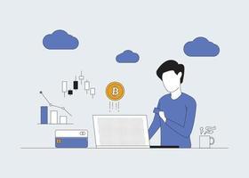 commerçant homme bitcoins vecteur ligne plate moderne