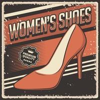 signe d & # 39; affiche de chaussures rétro vintage pour femmes vecteur