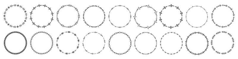 ensemble de cadres ronds et de monogrammes. bordures de cercle décoratif de collection. doodle abstrait. ronds des cercles de ligne de gribouillage. doodle éléments de conception de logo circulaire. étiquettes de modèle, autocollants, cartes. vecteur. vecteur