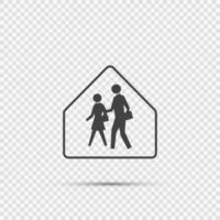 signe de la zone scolaire sur fond transparent vecteur
