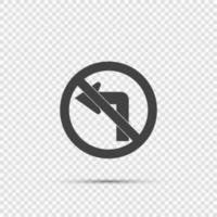 ne pas tourner à gauche panneau de signalisation sur fond transparent vecteur