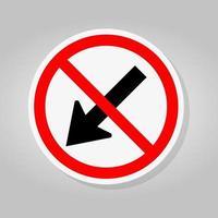 interdire rester à gauche par le signe de symbole de flèche rouge cercle trafic route isoler sur fond blanc, illustration vectorielle vecteur