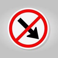 interdire de rester à droite par le panneau de signalisation de circulation cercle rouge flèche isoler sur fond blanc, illustration vectorielle vecteur