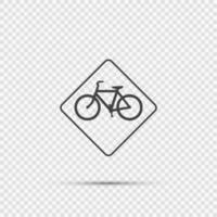 Panneau d'avertissement de circulation à vélo sur fond transparent vecteur