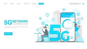 Concept de technologie sans fil de réseau 5g. page de destination dans un style plat. vecteur eps 10