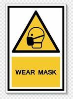 porter le signe de symbole de masque isoler sur fond blanc, illustration vectorielle eps.10 vecteur