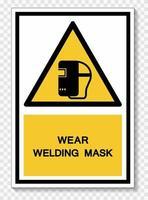 Porter le signe de symbole de masque de soudage isoler sur fond blanc, illustration vectorielle eps.10 vecteur
