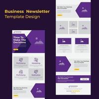 modèle de newsletter par e-mail de discussions sur la dernière stratégie commerciale colorée vecteur