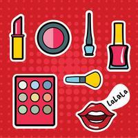 Make Up Patches Vector Pack. Pop Art moderne