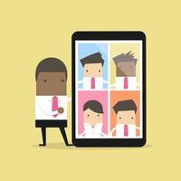 homme d'affaires afro avec vidéoconférence sur tablette. réunions virtuelles en ligne. vecteur