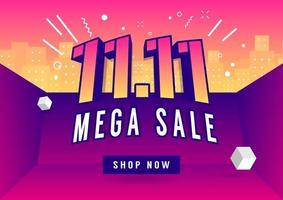11.11 affiche de vente méga jour de magasinage ou conception de flyer. vente en ligne de la journée mondiale du shopping. vecteur