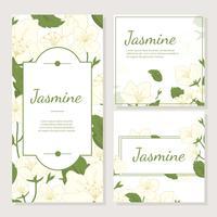 Carte d'invitation avec le vecteur de fleur de jasmin