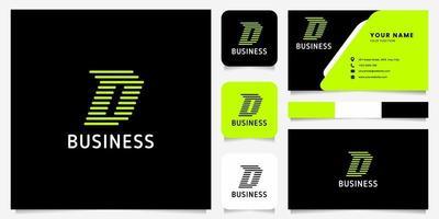 flèche verte brillante lignes arrondies logo lettre d sur fond noir avec modèle de carte de visite vecteur