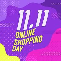 11.11 Conception d'affiche ou de flyer de la journée des achats en ligne. bannière de vente en ligne de la journée mondiale du shopping. vecteur