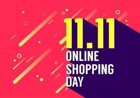 11.11 Conception d'affiche ou de flyer de la journée des achats en ligne. vente en ligne de la journée mondiale du shopping. vecteur