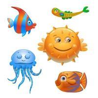 poisson de vecteur sur fond blanc. personnages de poissons de dessin animé. poisson isolé sur fond blanc. poisson de mer. illustration vectorielle