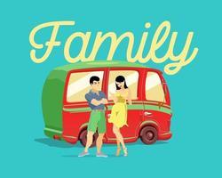 jeune couple marié sur fond de voiture rouge. une famille. illustration vectorielle vecteur