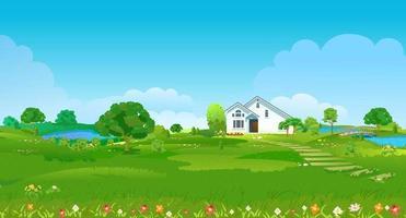 clairière d'été avec une maison blanche, des étangs, des arbres verts et des fleurs. paysage de campagne d'été. illustration vectorielle vecteur
