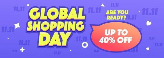 11.11 bannière horizontale de vente shopping global ou promotion sur fond violet. illustration vectorielle de shopping en ligne. vecteur