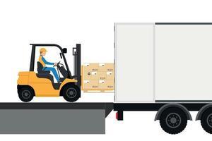Chariot élévateur avec homme conduisant dans un conteneur pour l'exportation vecteur