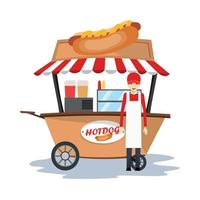 vendeur de hot-dog avec panier vecteur