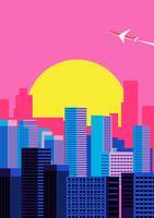 Fond de paysage urbain coucher de soleil vecteur