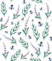 modèle sans couture de lavande et de mouche. fond floral et insecte. parfait pour le papier peint, l'arrière-plan, le textile, le tissu, le papier d'emballage. vecteur