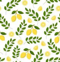 motif de citron sans soudure sur fond blanc. illustration vectorielle d'agrumes. parfait pour le papier peint, l'arrière-plan, le textile, le tissu, le papier d'emballage ou les flyers. vecteur